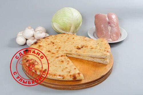 осетинский пирог с грибами, курицей и капустой