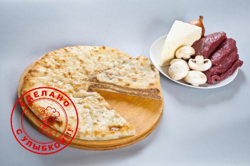 Осетинский пирог с сыром, мясом и грибами