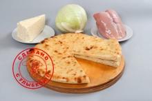 Осетинский пирог с сыром, курицей и капустой