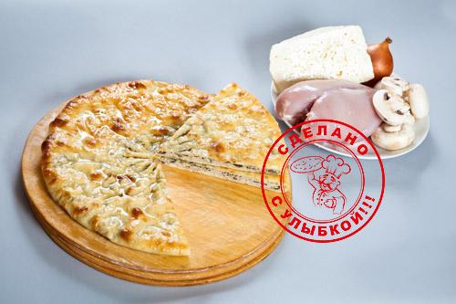 Осетинский пирог с сыром, курицей и грибами